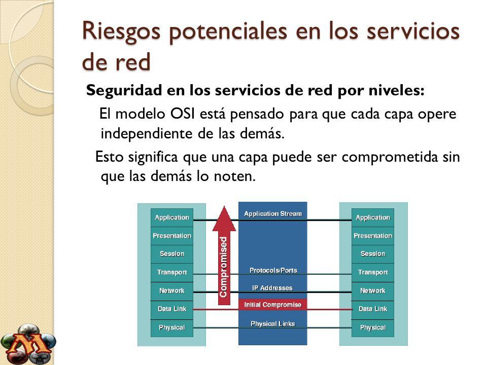Riesgos potenciales en los servicios de red Seguridad en los servicios de red por niveles: El modelo OSI está pensado para que cada capa opere indepen