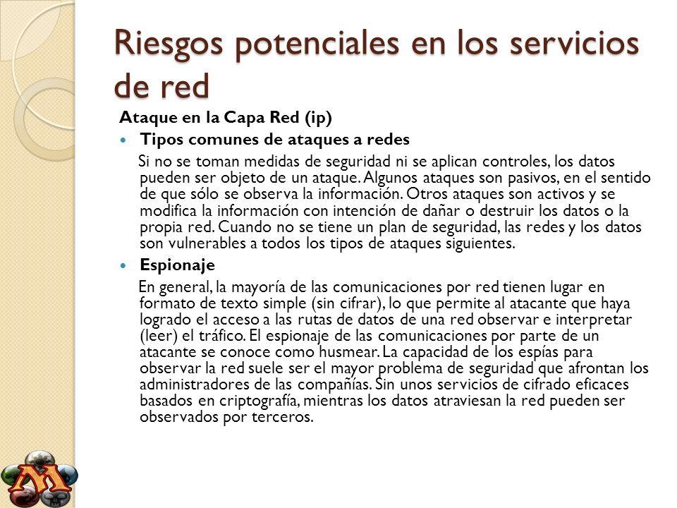 Riesgos potenciales en los servicios de red Ataque en la Capa Red (ip) Tipos comunes de ataques a redes Si no se toman medidas de seguridad ni se apli