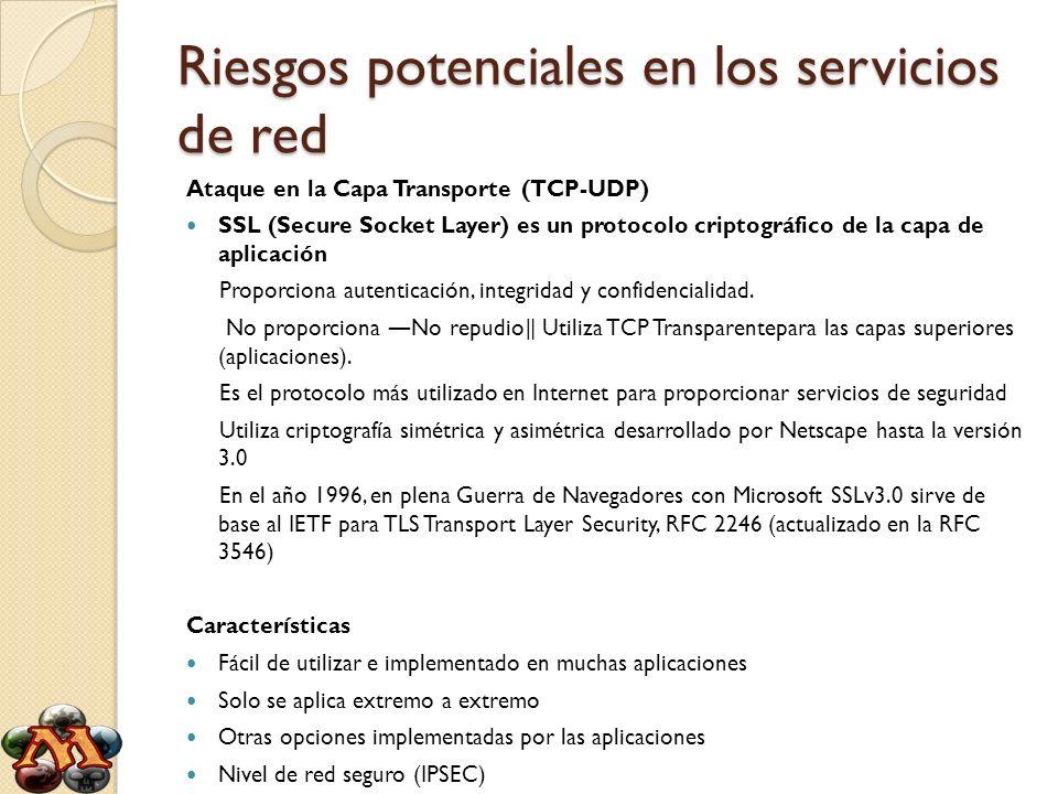 Riesgos potenciales en los servicios de red Ataque en la Capa Transporte (TCP-UDP) SSL (Secure Socket Layer) es un protocolo criptográfico de la capa