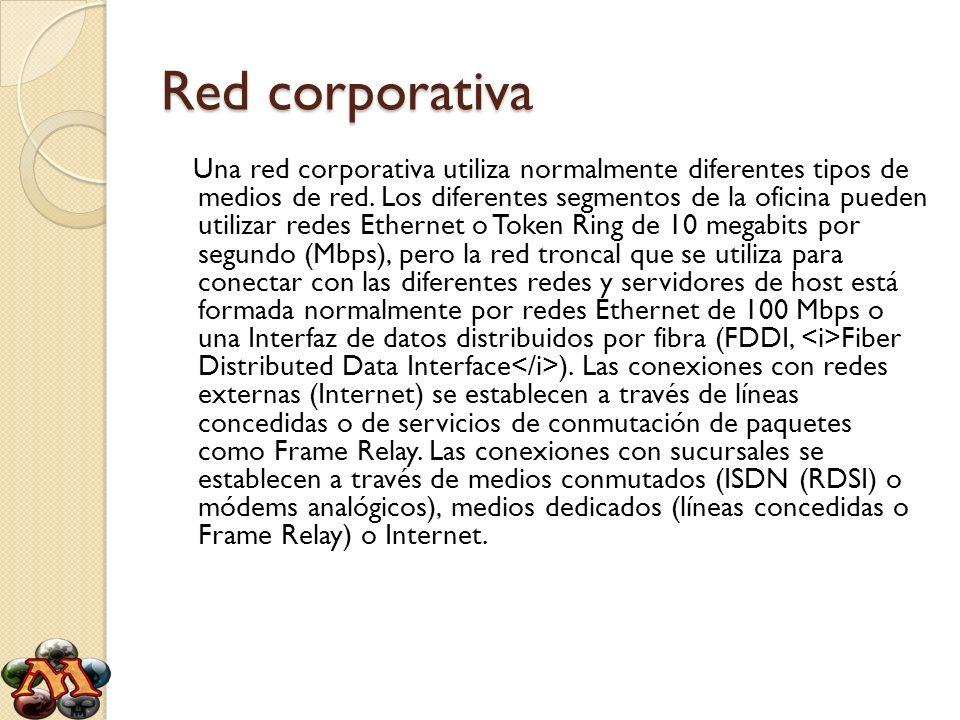 Red corporativa Una red corporativa utiliza normalmente diferentes tipos de medios de red. Los diferentes segmentos de la oficina pueden utilizar rede