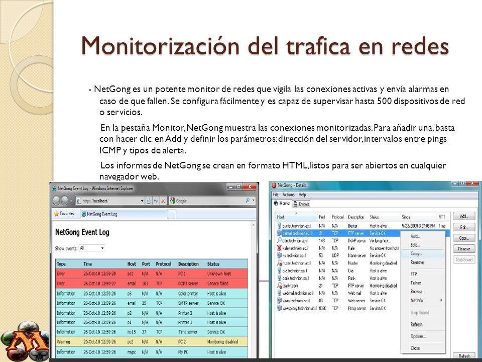 Monitorización del trafica en redes - NetGong es un potente monitor de redes que vigila las conexiones activas y envía alarmas en caso de que fallen.