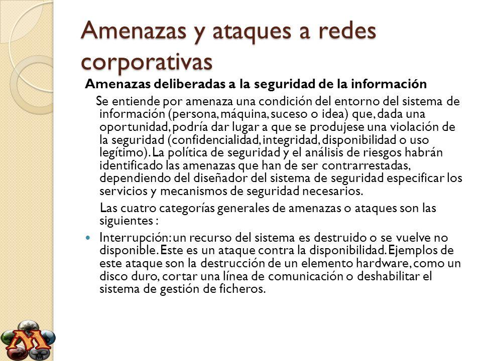 Amenazas y ataques a redes corporativas Intercepción: una entidad no autorizada consigue acceso a un recurso.