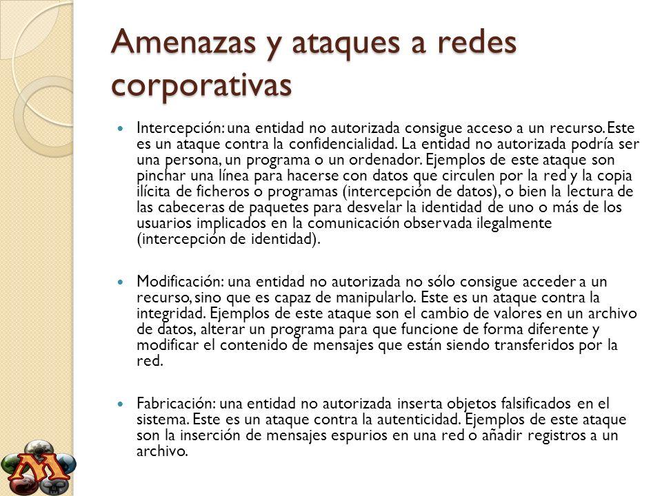 Amenazas y ataques a redes corporativas Intercepción: una entidad no autorizada consigue acceso a un recurso. Este es un ataque contra la confidencial