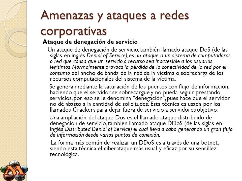 Amenazas y ataques a redes corporativas Ataque de denegación de servicio Un ataque de denegación de servicio, también llamado ataque DoS (de las sigla