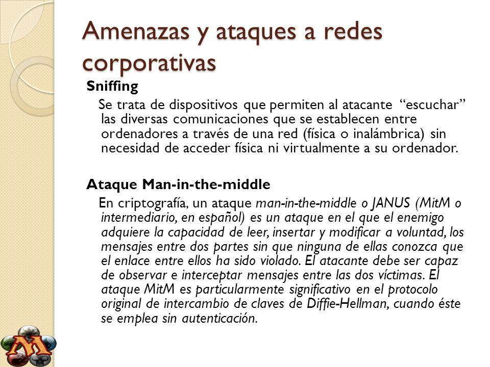 Amenazas y ataques a redes corporativas Sniffing Se trata de dispositivos que permiten al atacante escuchar las diversas comunicaciones que se estable