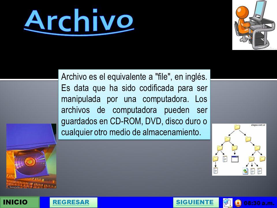 INICIO SIGUIENTE REGRESAR 08:30 a.m. Archivo es el equivalente a file , en inglés.