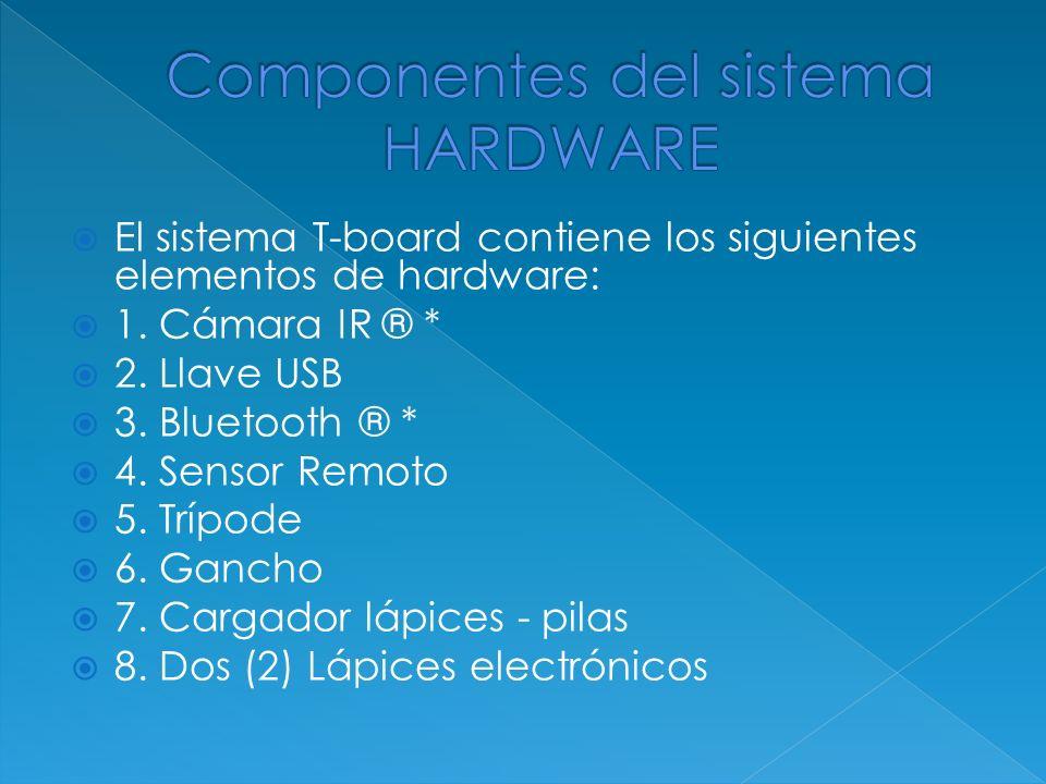 El sistema T-board contiene los siguientes elementos de hardware: 1. Cámara IR ® * 2. Llave USB 3. Bluetooth ® * 4. Sensor Remoto 5. Trípode 6. Gancho