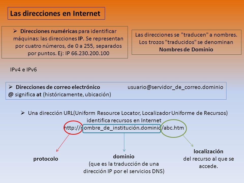 localización del recurso al que se accede. Las direcciones en Internet Direcciones numéricas para identificar máquinas: las direcciones IP. Se represe