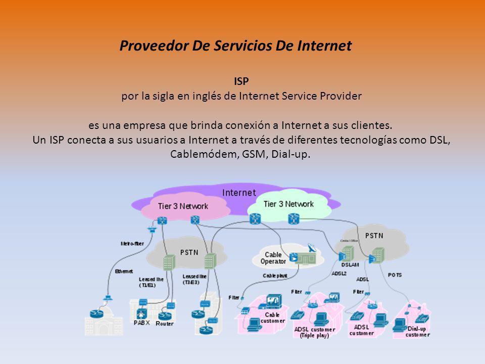 ISP por la sigla en inglés de Internet Service Provider es una empresa que brinda conexión a Internet a sus clientes. Un ISP conecta a sus usuarios a