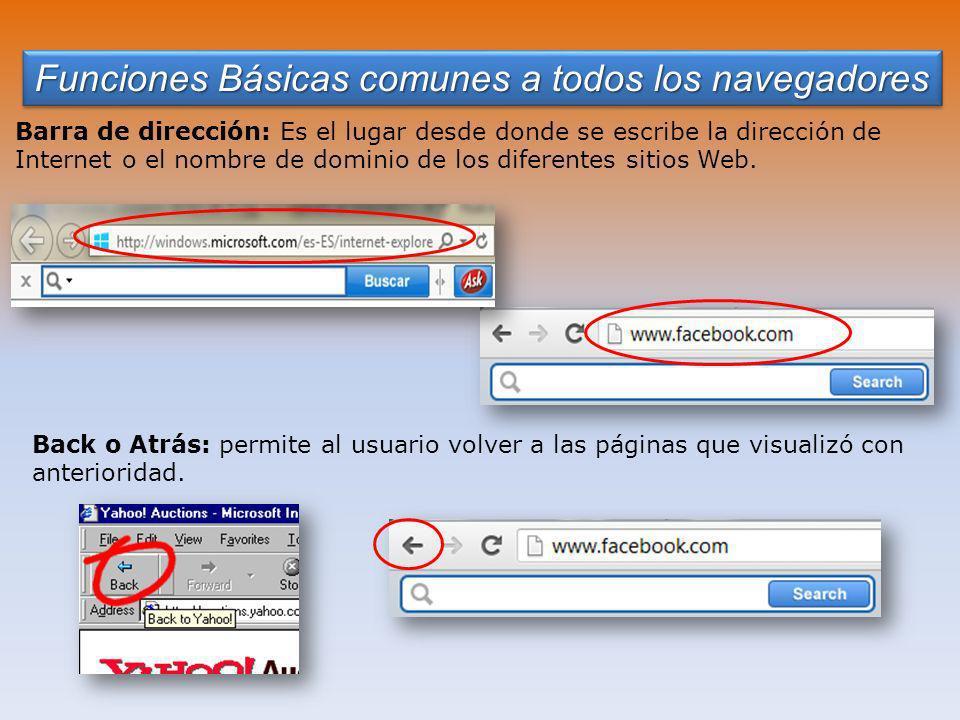 Funciones Básicas comunes a todos los navegadores Barra de dirección: Es el lugar desde donde se escribe la dirección de Internet o el nombre de dominio de los diferentes sitios Web.
