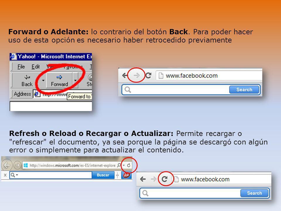 Forward o Adelante: lo contrario del botón Back. Para poder hacer uso de esta opción es necesario haber retrocedido previamente Refresh o Reload o Rec