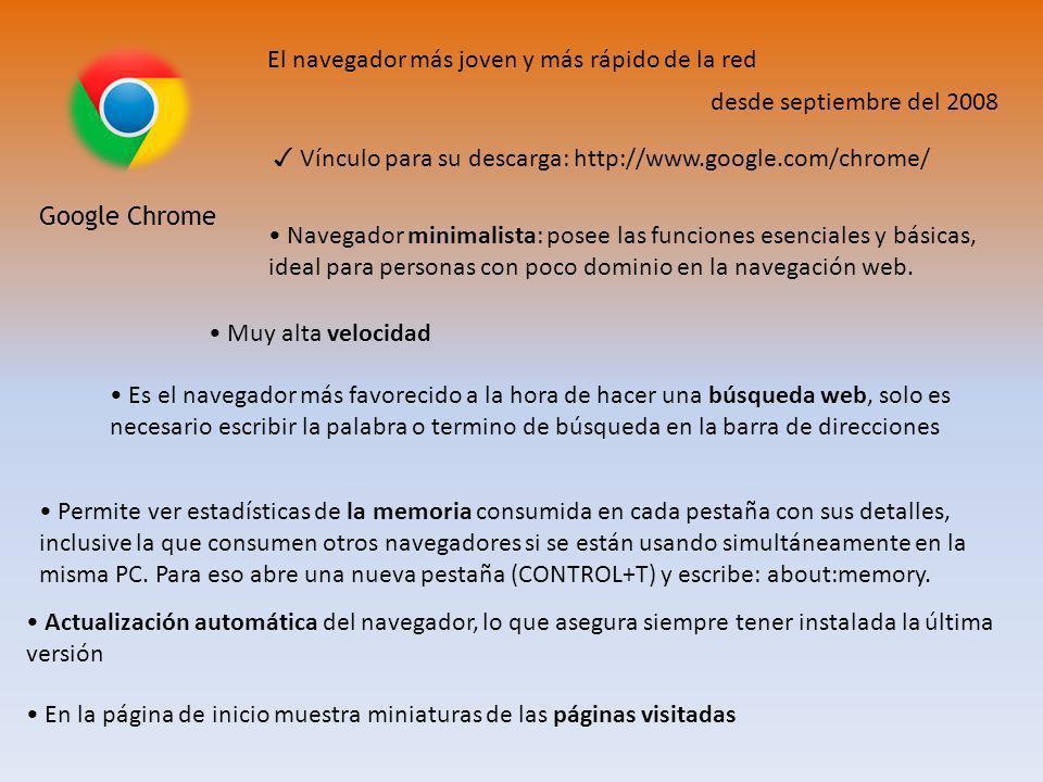 Google Chrome El navegador más joven y más rápido de la red desde septiembre del 2008 Navegador minimalista: posee las funciones esenciales y básicas, ideal para personas con poco dominio en la navegación web.