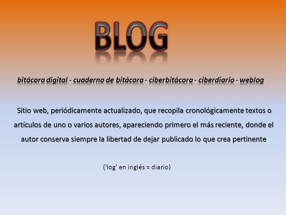 Sitio web, periódicamente actualizado, que recopila cronológicamente textos o artículos de uno o varios autores, apareciendo primero el más reciente,