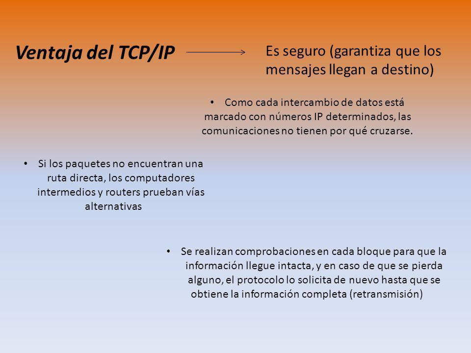 Ventaja del TCP/IP Es seguro (garantiza que los mensajes llegan a destino) Como cada intercambio de datos está marcado con números IP determinados, las comunicaciones no tienen por qué cruzarse.