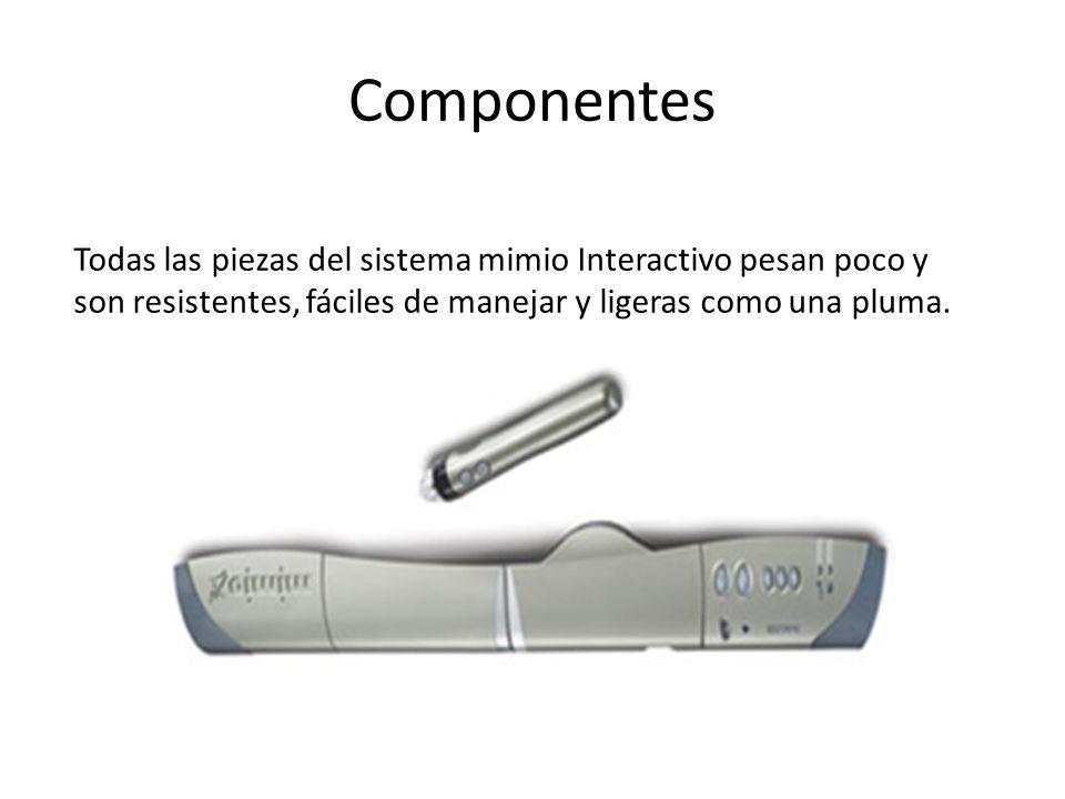 Componentes Todas las piezas del sistema mimio Interactivo pesan poco y son resistentes, fáciles de manejar y ligeras como una pluma.