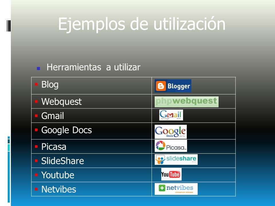 Ejemplos de utilización Herramientas a utilizar Blog Webquest Gmail Google Docs Picasa SlideShare Youtube Netvibes