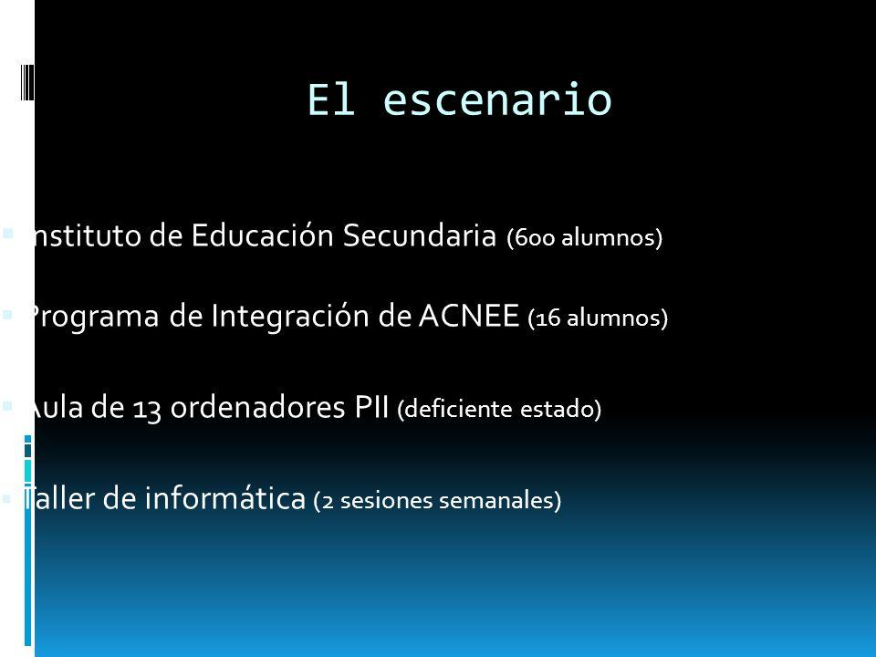 El escenario Instituto de Educación Secundaria (600 alumnos) Programa de Integración de ACNEE (16 alumnos) Aula de 13 ordenadores PII (deficiente esta