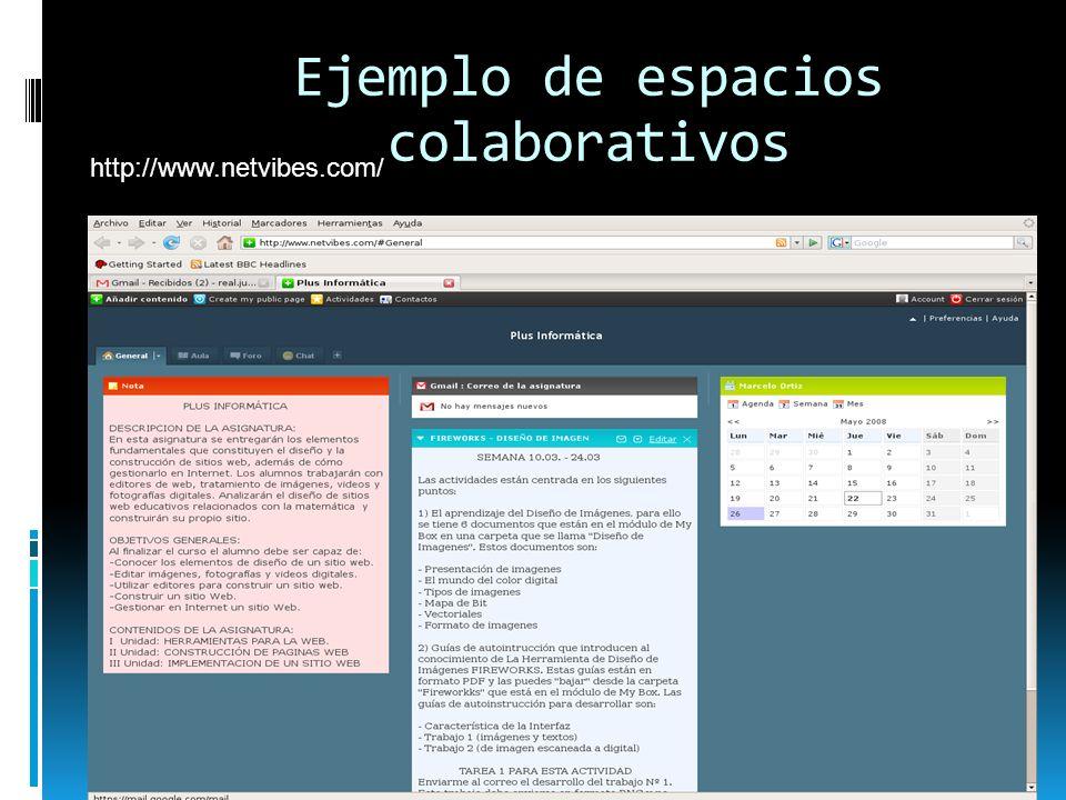 Ejemplo de espacios colaborativos http://www.netvibes.com/