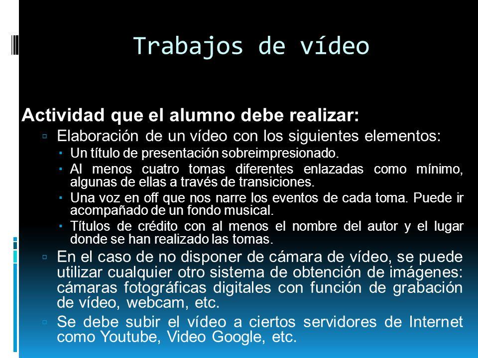 Trabajos de vídeo Actividad que el alumno debe realizar: Elaboración de un vídeo con los siguientes elementos: Un título de presentación sobreimpresio