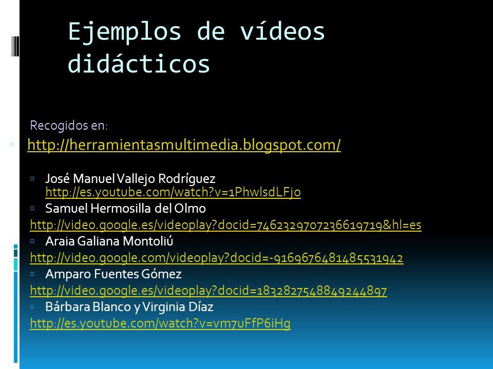 Ejemplos de vídeos didácticos Recogidos en: http://herramientasmultimedia.blogspot.com/ José Manuel Vallejo Rodríguez http://es.youtube.com/watch?v=1P