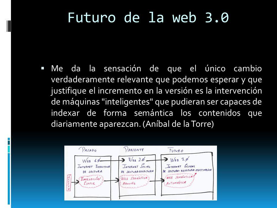 Futuro de la web 3.0 Me da la sensación de que el único cambio verdaderamente relevante que podemos esperar y que justifique el incremento en la versi