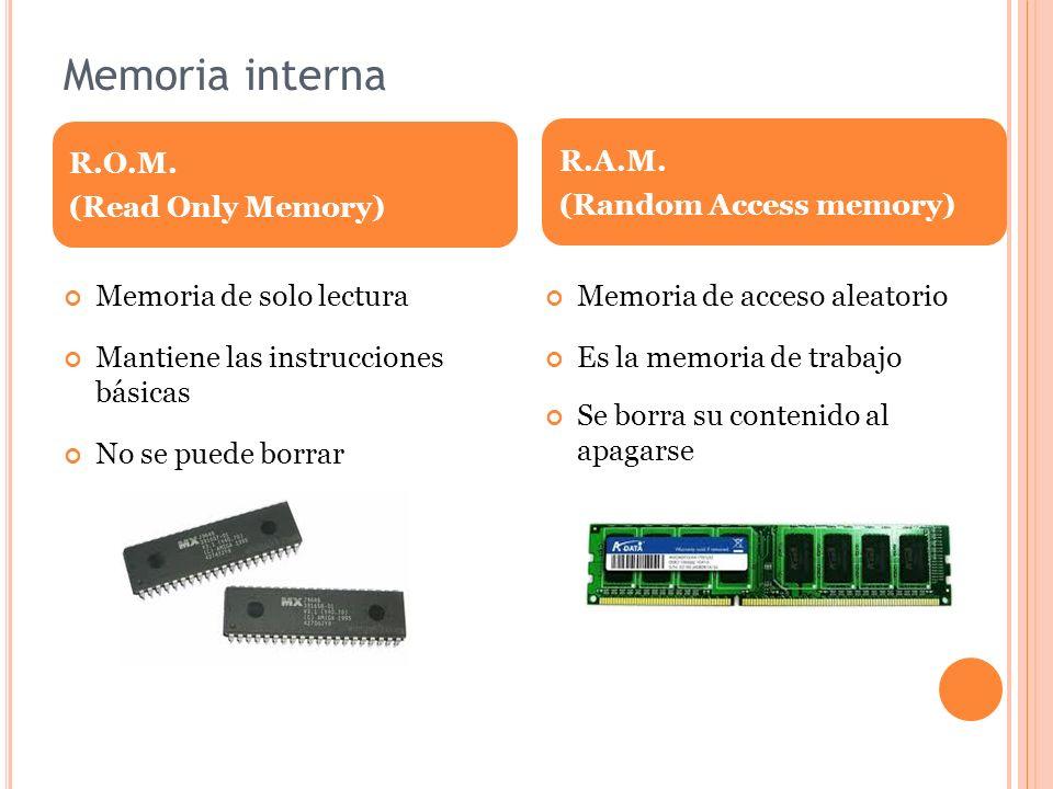 Memoria interna Memoria de solo lectura Mantiene las instrucciones básicas No se puede borrar Memoria de acceso aleatorio Es la memoria de trabajo Se borra su contenido al apagarse R.O.M.