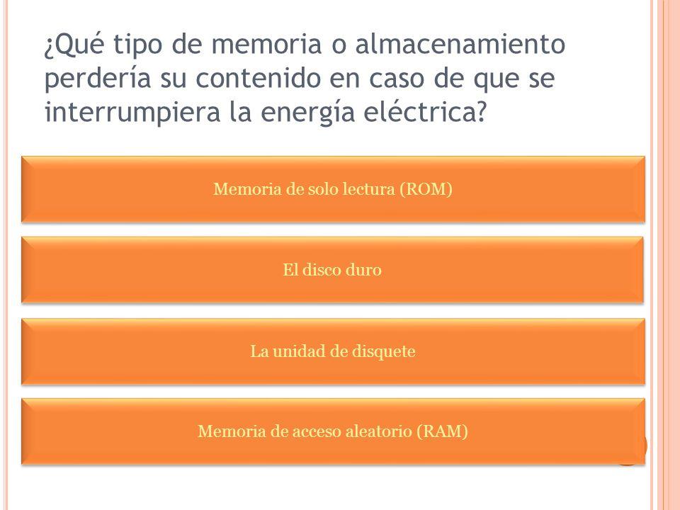 ¿Qué tipo de memoria o almacenamiento perdería su contenido en caso de que se interrumpiera la energía eléctrica? El disco duro Memoria de solo lectur