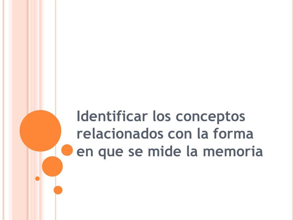 Identificar los conceptos relacionados con la forma en que se mide la memoria