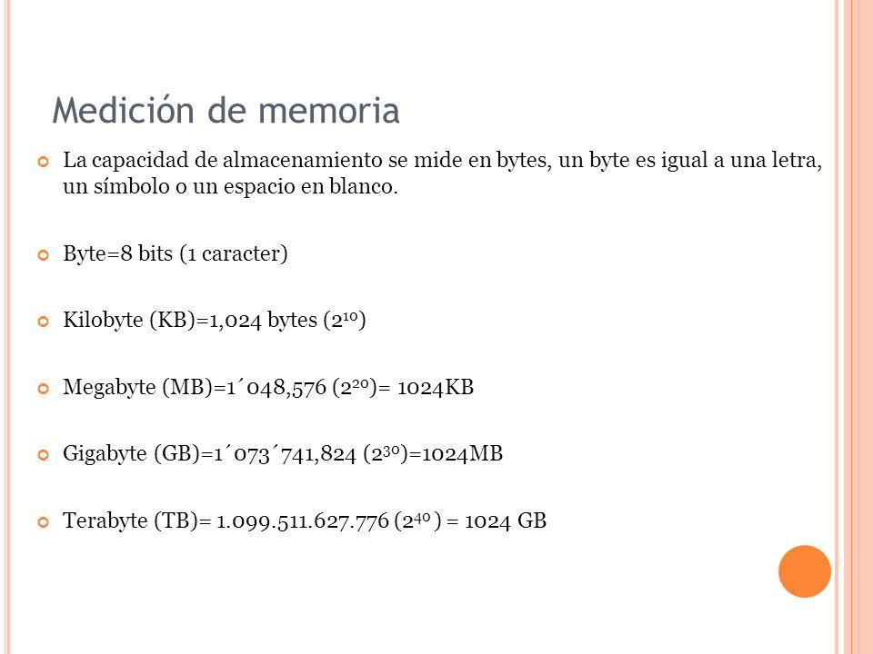 Medición de memoria La capacidad de almacenamiento se mide en bytes, un byte es igual a una letra, un símbolo o un espacio en blanco. Byte=8 bits (1 c