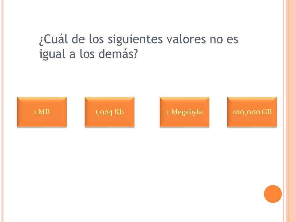 ¿Cuál de los siguientes valores no es igual a los demás? 1 MB 1,024 Kb 1 Megabyte 100,000 GB