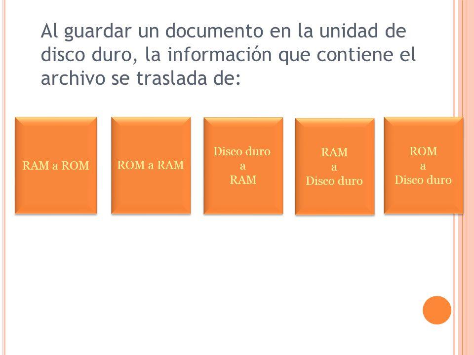 Al guardar un documento en la unidad de disco duro, la información que contiene el archivo se traslada de: RAM a ROM ROM a RAM RAM a Disco duro RAM a Disco duro ROM a Disco duro ROM a Disco duro a RAM Disco duro a RAM