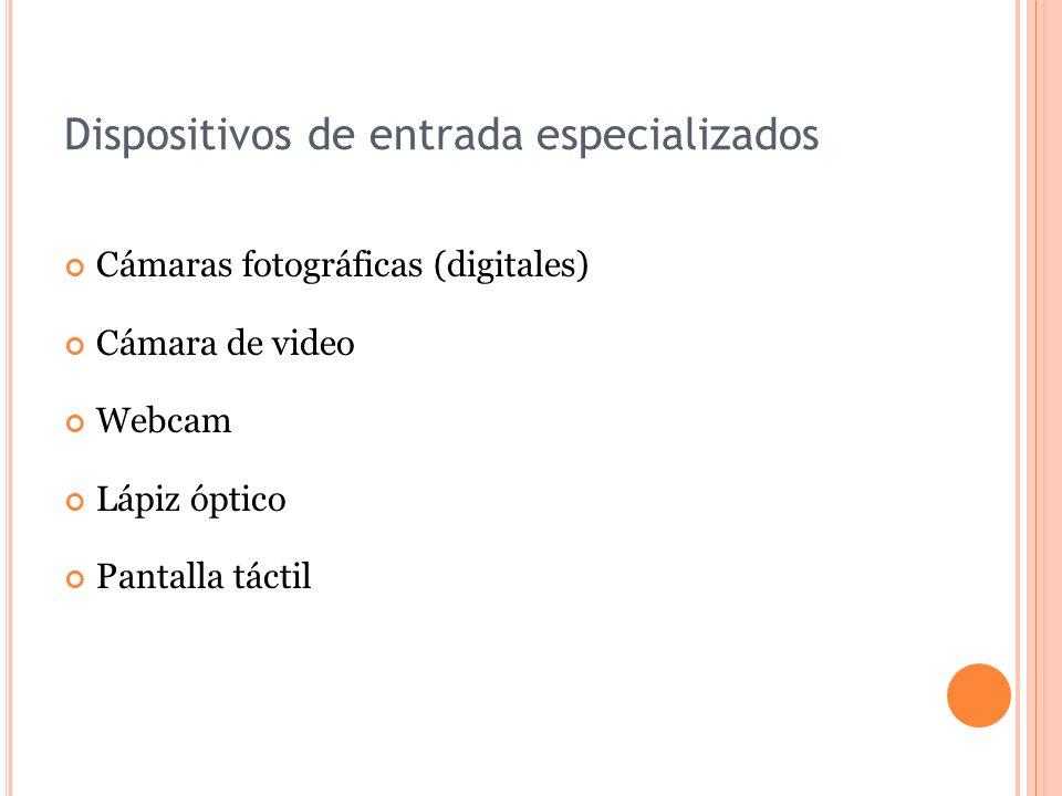 Dispositivos de entrada especializados Cámaras fotográficas (digitales) Cámara de video Webcam Lápiz óptico Pantalla táctil