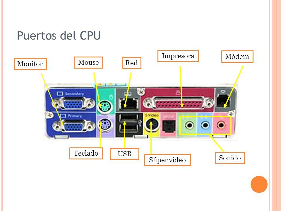 Puertos del CPU Monitor Teclado Mouse Red USB Súper video Módem Sonido Impresora