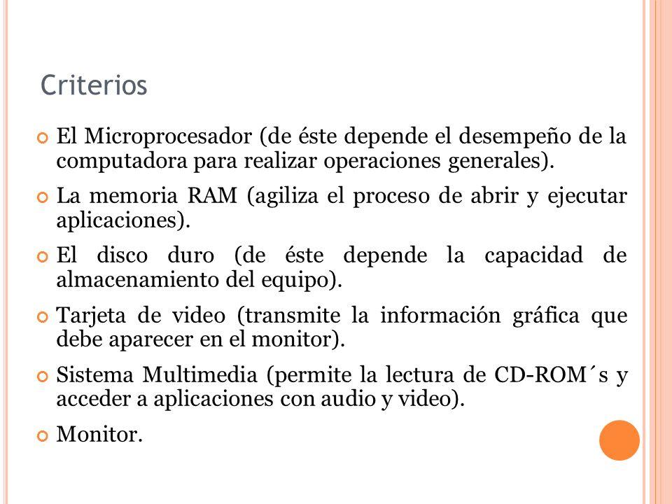 Criterios El Microprocesador (de éste depende el desempeño de la computadora para realizar operaciones generales). La memoria RAM (agiliza el proceso