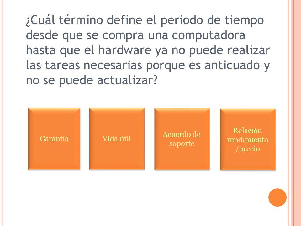 ¿Cuál término define el periodo de tiempo desde que se compra una computadora hasta que el hardware ya no puede realizar las tareas necesarias porque es anticuado y no se puede actualizar.