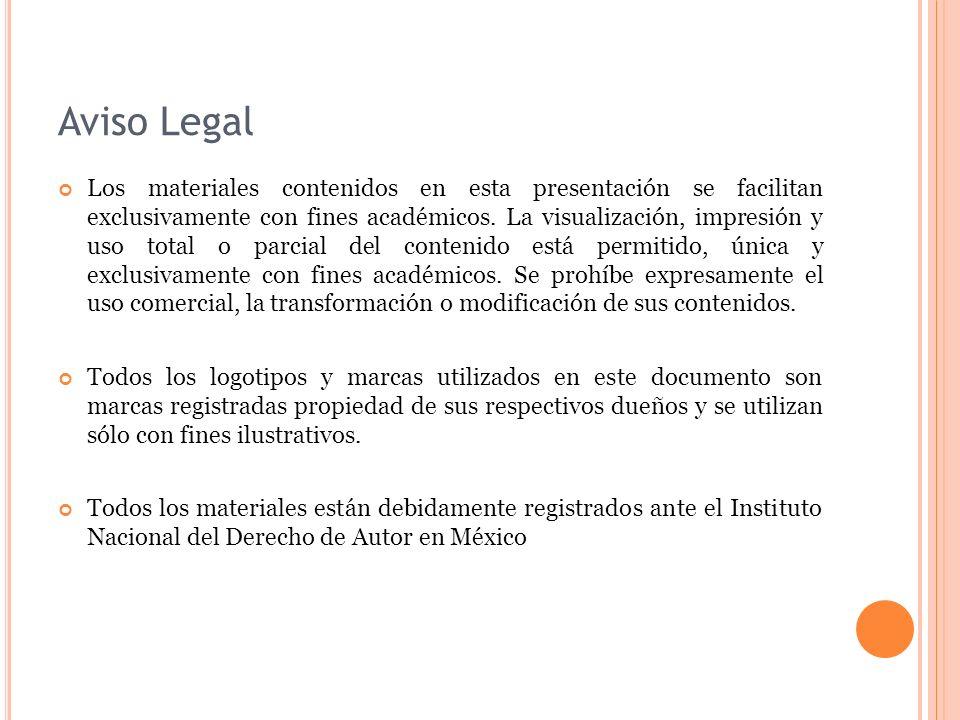 Aviso Legal Los materiales contenidos en esta presentación se facilitan exclusivamente con fines académicos.