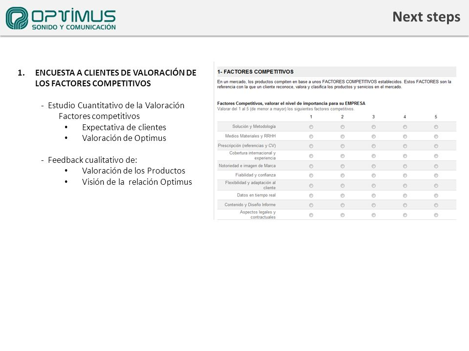 Next steps 1.ENCUESTA A CLIENTES DE VALORACIÓN DE LOS FACTORES COMPETITIVOS - Estudio Cuantitativo de la Valoración Factores competitivos Expectativa