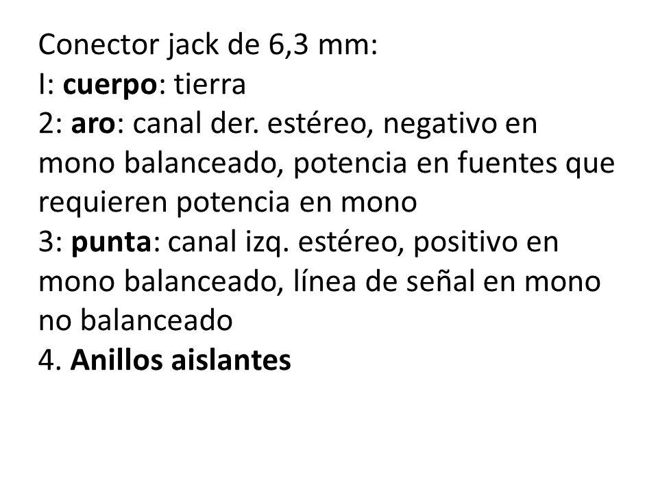 Conector jack de 6,3 mm: I: cuerpo: tierra 2: aro: canal der. estéreo, negativo en mono balanceado, potencia en fuentes que requieren potencia en mono