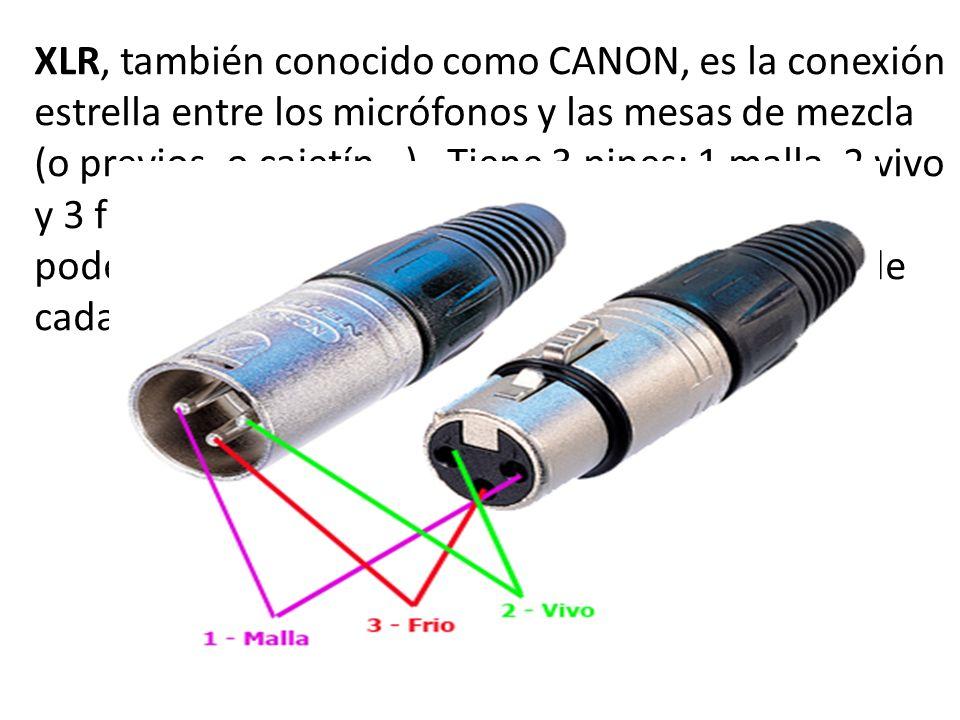 XLR, también conocido como CANON, es la conexión estrella entre los micrófonos y las mesas de mezcla (o previos, o cajetín…). Tiene 3 pines; 1 malla,