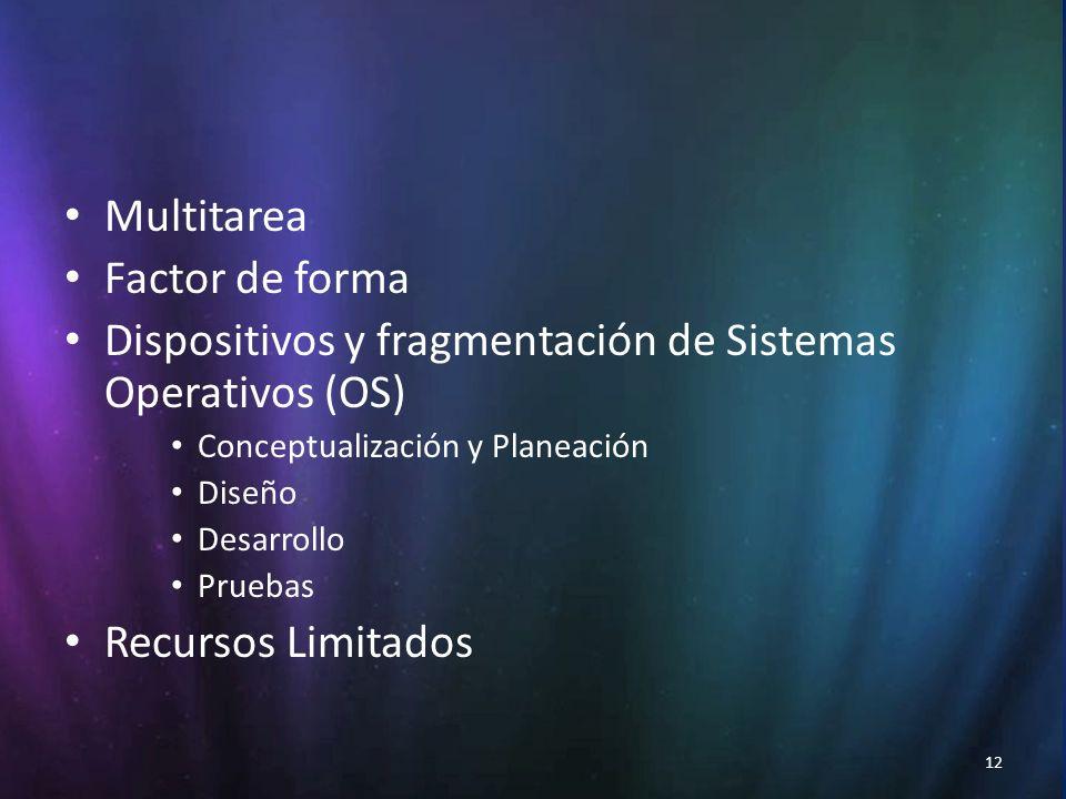 12 Multitarea Factor de forma Dispositivos y fragmentación de Sistemas Operativos (OS) Conceptualización y Planeación Diseño Desarrollo Pruebas Recursos Limitados