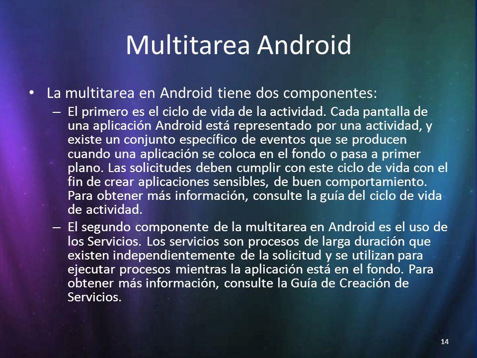 14 Multitarea Android La multitarea en Android tiene dos componentes: – El primero es el ciclo de vida de la actividad.