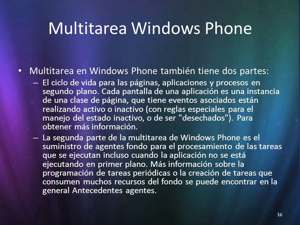 16 Multitarea Windows Phone Multitarea en Windows Phone también tiene dos partes: – El ciclo de vida para las páginas, aplicaciones y procesos en segundo plano.