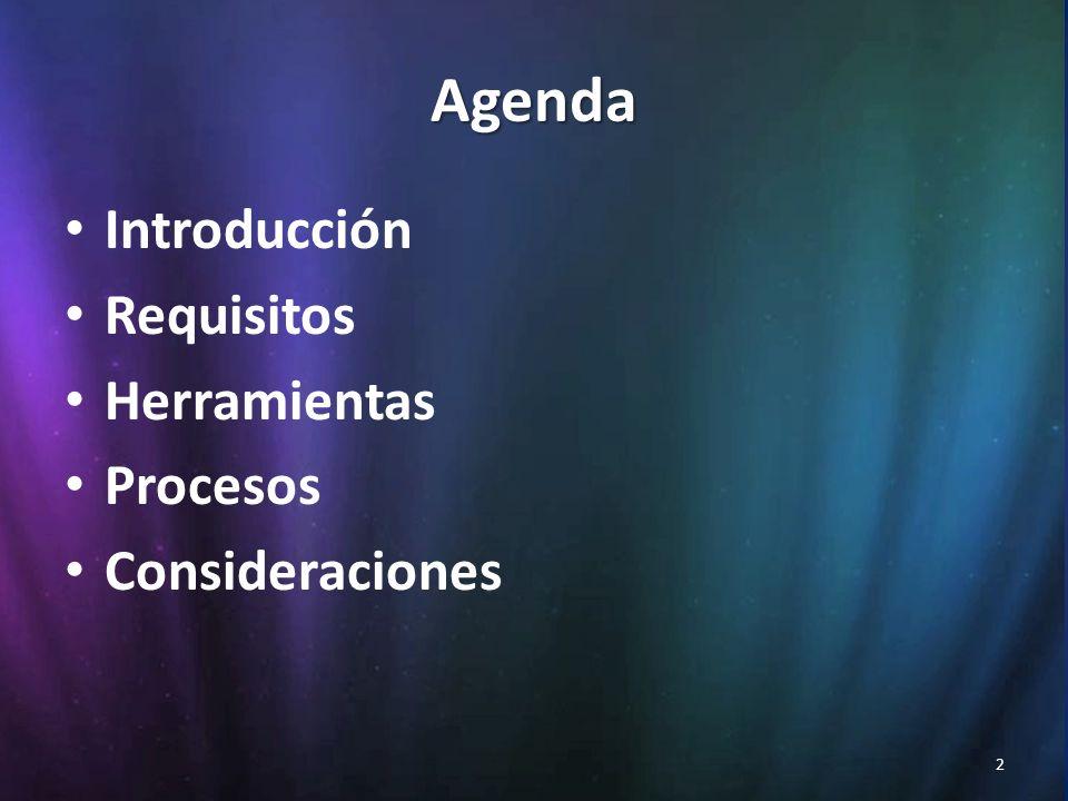 2 Agenda Introducción Requisitos Herramientas Procesos Consideraciones