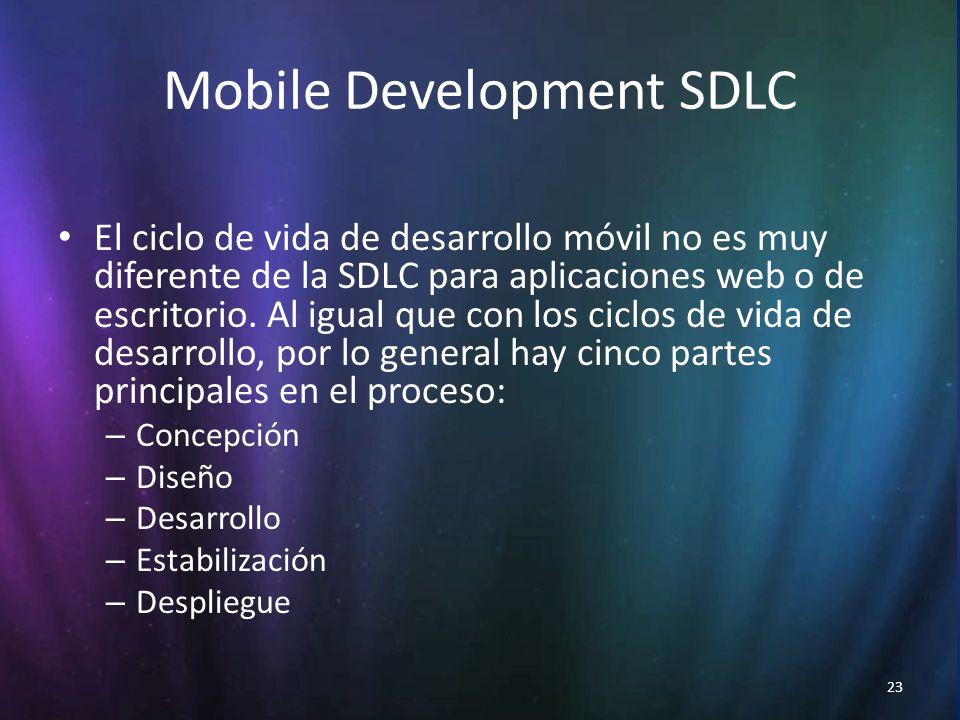 23 Mobile Development SDLC El ciclo de vida de desarrollo móvil no es muy diferente de la SDLC para aplicaciones web o de escritorio.