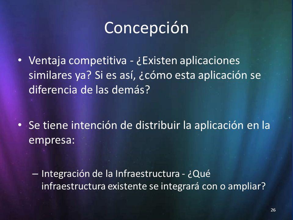 26 Concepción Ventaja competitiva - ¿Existen aplicaciones similares ya.