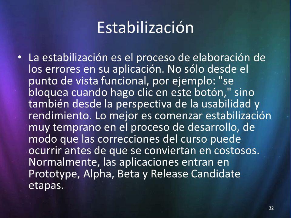 32 Estabilización La estabilización es el proceso de elaboración de los errores en su aplicación.