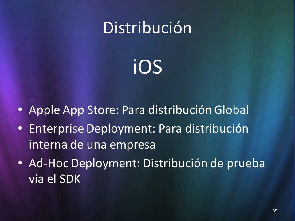35 Distribución iOS Apple App Store: Para distribución Global Enterprise Deployment: Para distribución interna de una empresa Ad-Hoc Deployment: Distribución de prueba vía el SDK