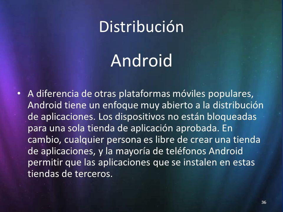 36 Distribución Android A diferencia de otras plataformas móviles populares, Android tiene un enfoque muy abierto a la distribución de aplicaciones.