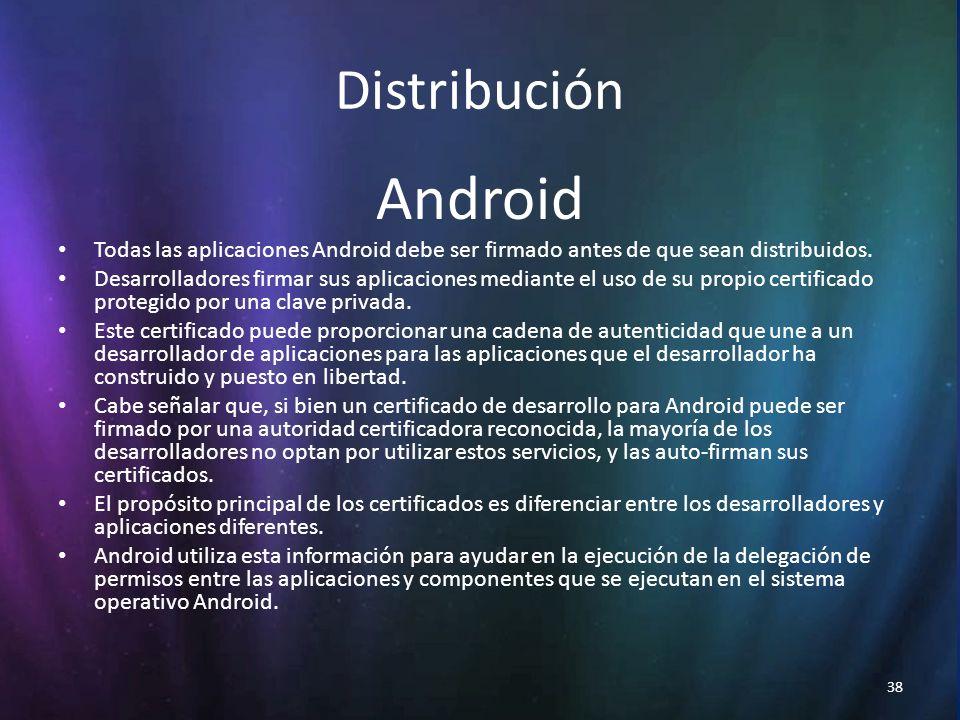 38 Distribución Android Todas las aplicaciones Android debe ser firmado antes de que sean distribuidos.