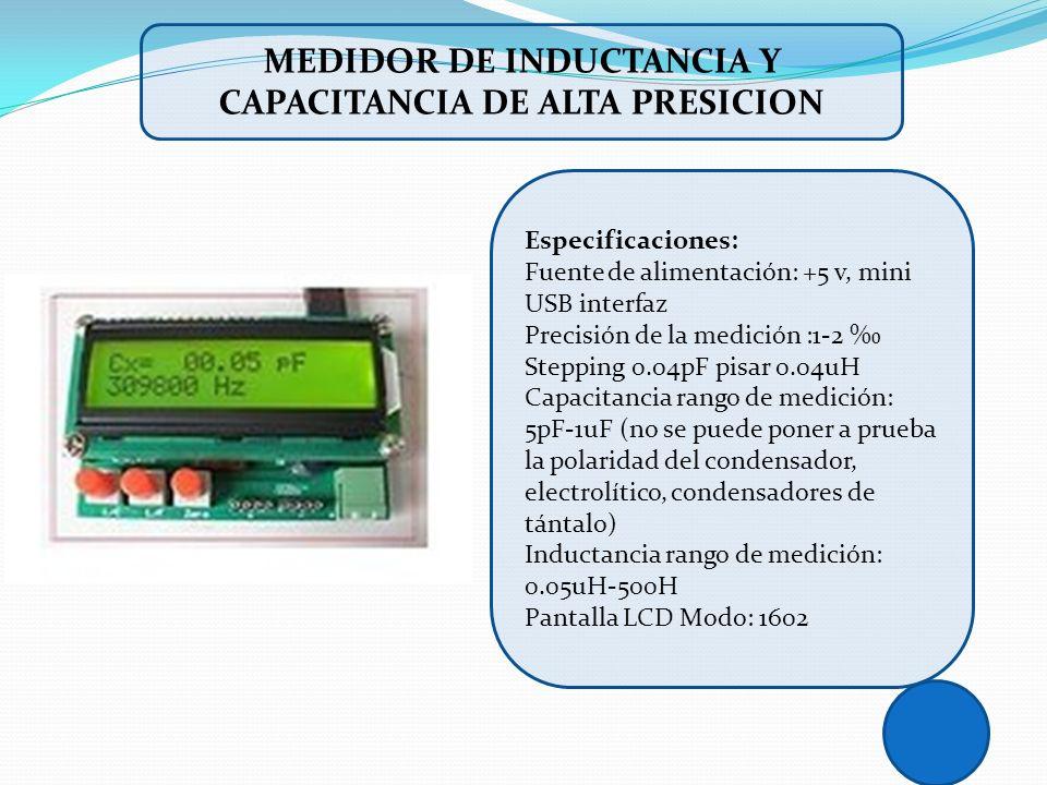 Especificaciones: Fuente de alimentación: +5 v, mini USB interfaz Precisión de la medición :1-2 Stepping 0.04pF pisar 0.04uH Capacitancia rango de med